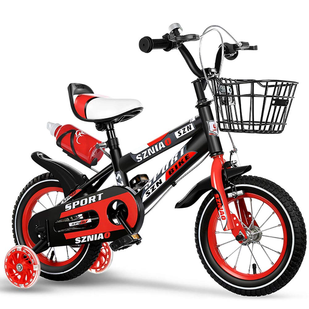 BAICHEN Kinderfahrräder Kinderfahrrad Mit Trainingsrad 12 14 16 18 Zoll Jungen und Mädchen beim Radfahren, Geeignet für Kinder von 2-10 Jahren,rot,14inches rot 12inches