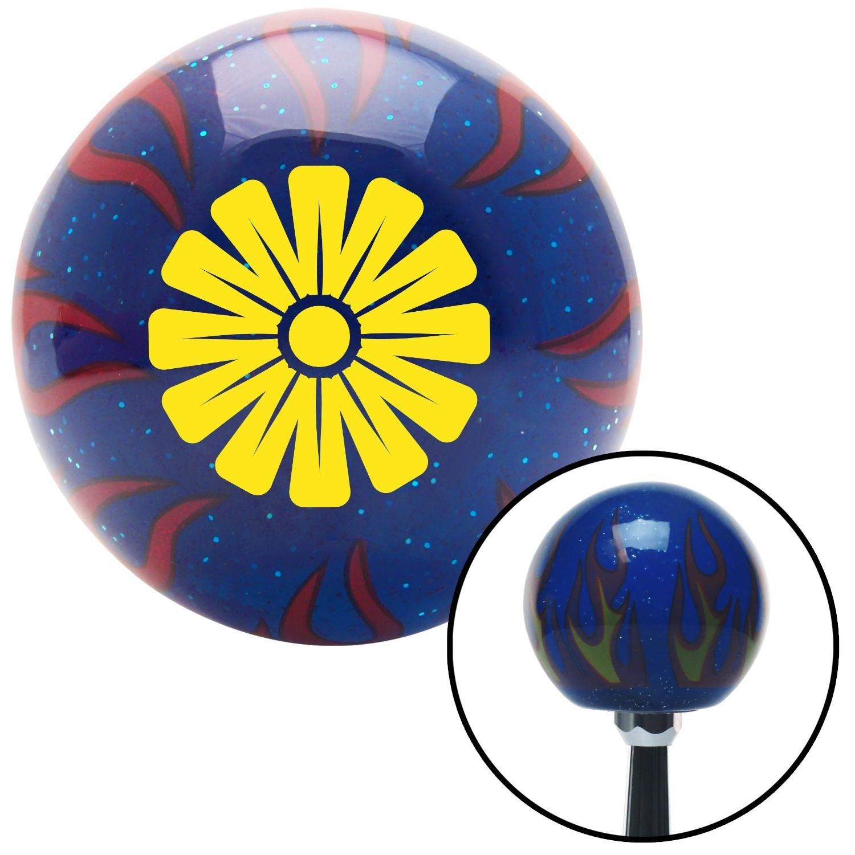 Yellow Hawaiian Flower #1 American Shifter 248860 Blue Flame Metal Flake Shift Knob with M16 x 1.5 Insert