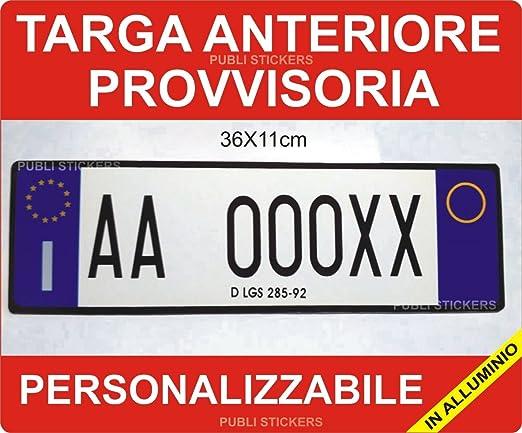 """2 opinioni per TARGA AUTO ANTERIORE PROVVISORIA IN ALLUMINIO- PERSONALIZZABILE """"D.LGS 285/92""""-"""