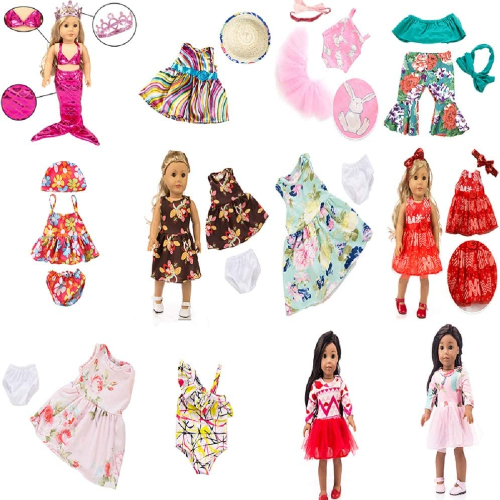 Hair Clip MSYO 26 Pieces of Girl Doll Clothes Dresses Suitable for 45.72 cm Doll Clothes and Accessories in The United States-Includes 12 Sets of Complete Clothes Sets with Hair Band Crown and hat