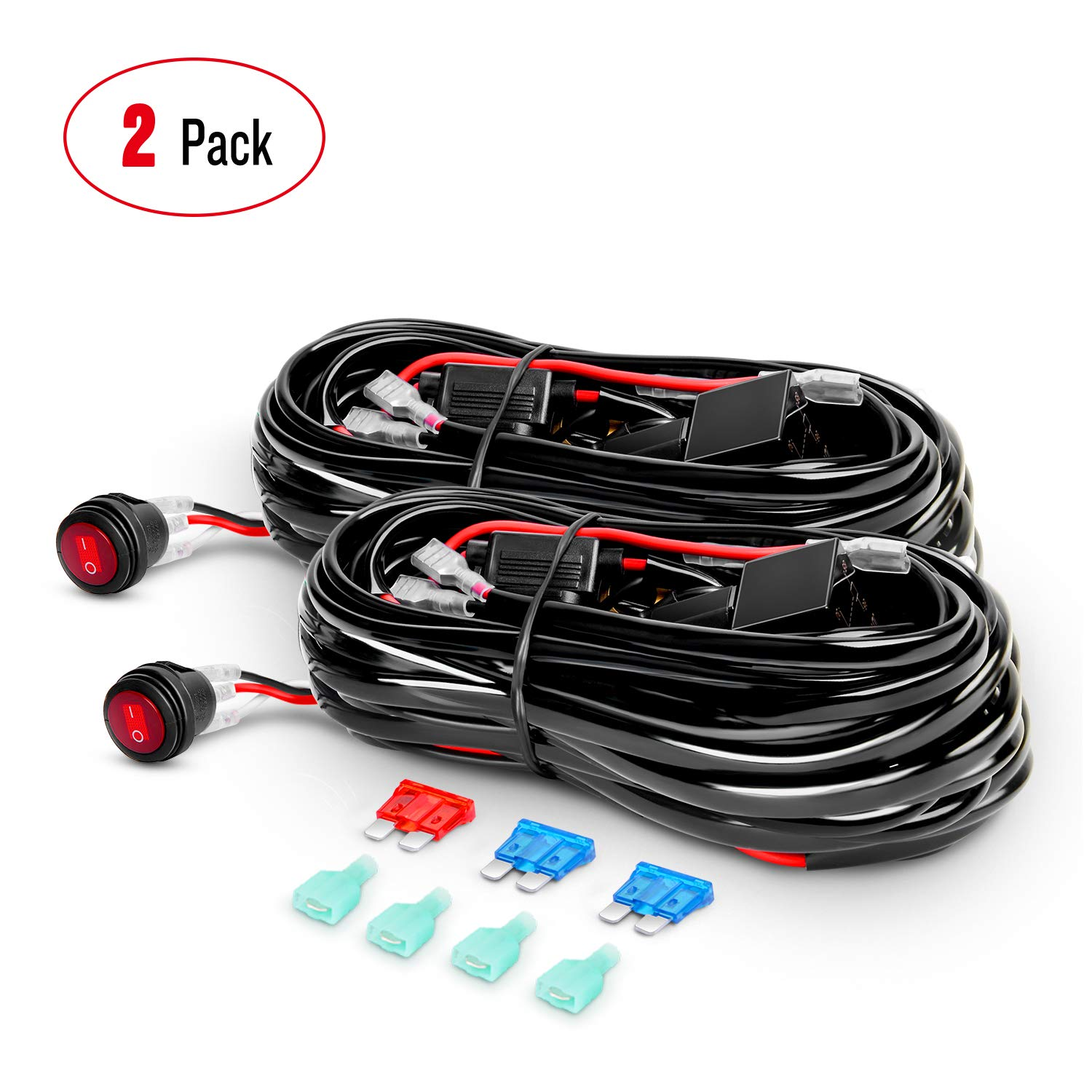 Nilight 2PCS LED Light Bar Wiring Harness Kit 12V On off Waterproof Switch Power Relay Blade Fuse,2 years Warranty