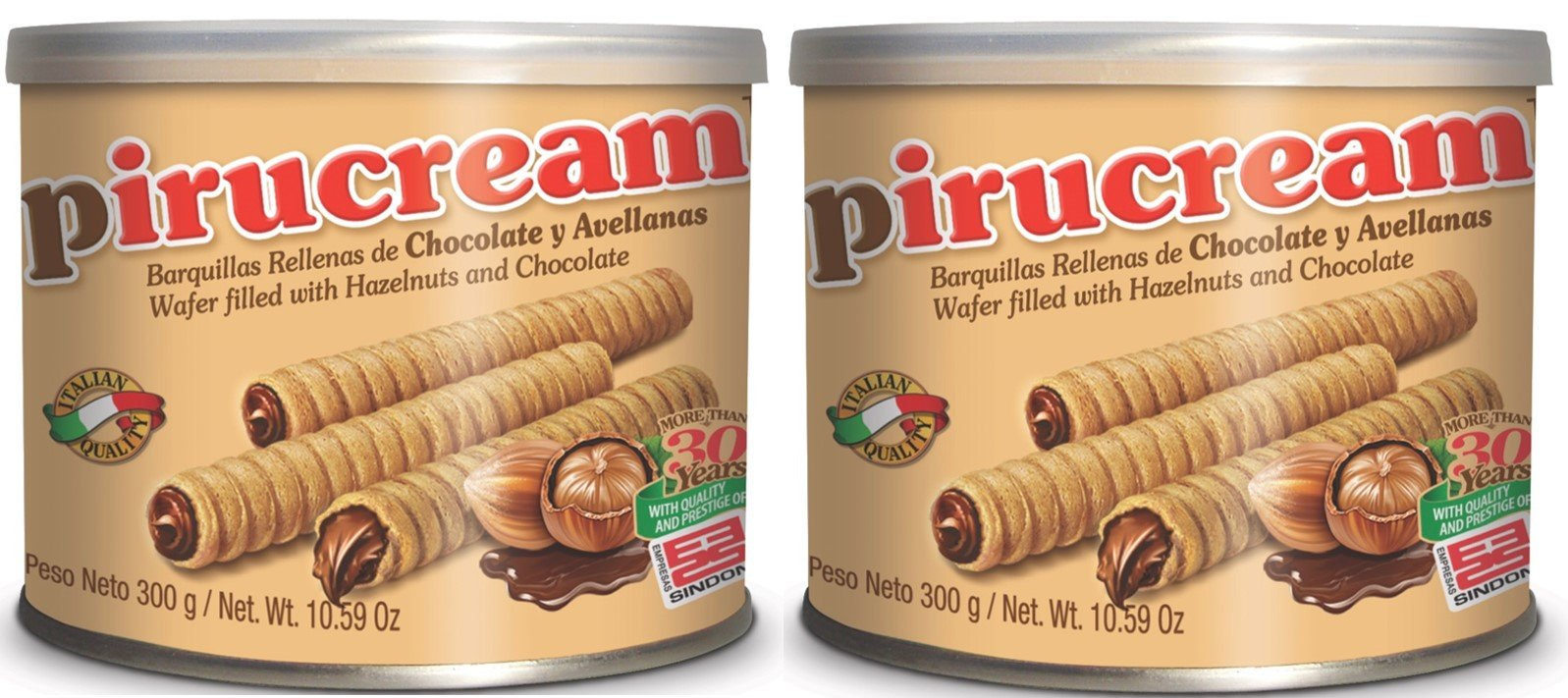 2 Pack Pirucream Chocolate and Hazelnut Wafer 10.59oz