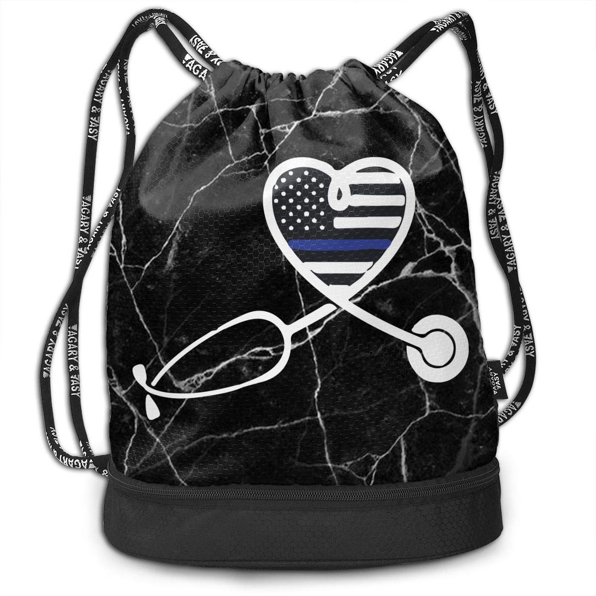 SG0HGO Drawstring Pack Nurse Wife Police Officer Heart Men /& Women Gym Sport Yoga Shoulder Bags