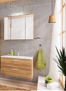 Badmobel Set Ibiza 60 Mit Waschbecken Keramik Grau Matt Eiche Led