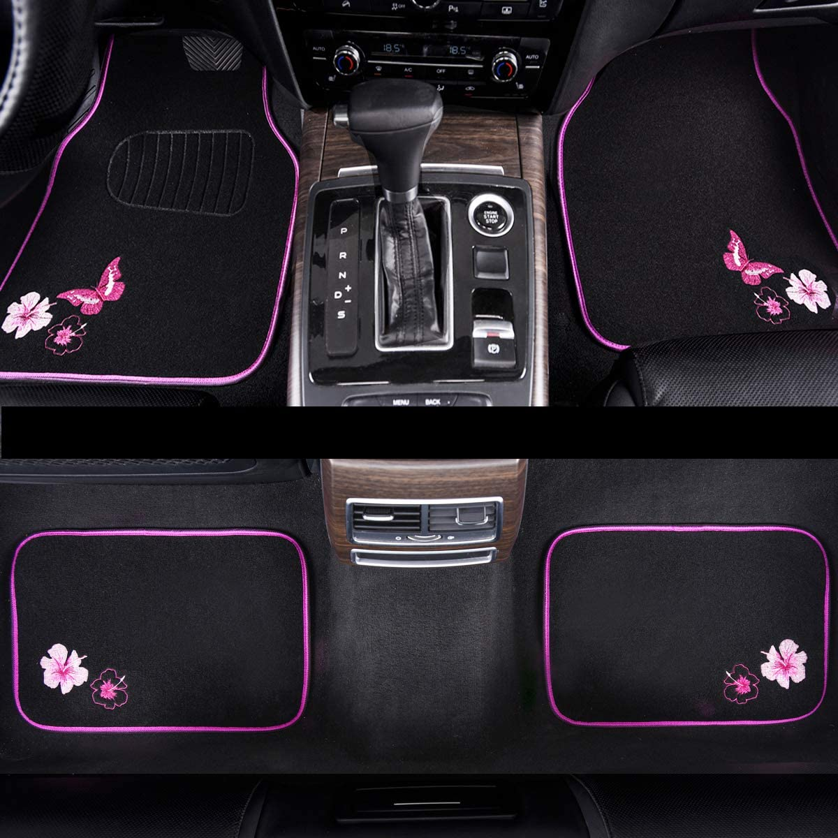 CAR PASS-Universal Fit Embroidery Butterfly and Flower Car Floor Mats