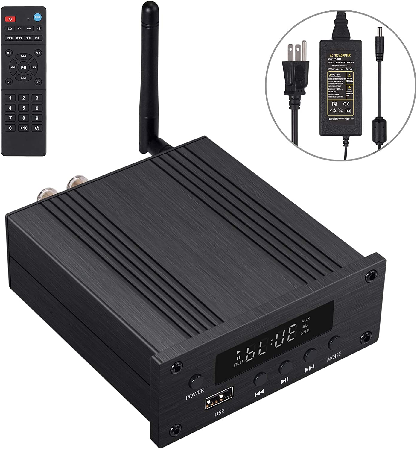 Proster 192kHz/24bit Stereo Audio Amplifier Bluetooth 5.0 Receiver Hi-Fi Digital Power Amplifier DAC Optical Coaxial USB to Analog Audio Converter for Passive Speakers 100W + 100W