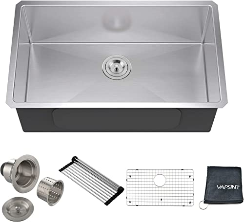 VAPSINT Commercial Durable Real 30 Inch Farmhouse Handmade Stainless Steel 18 Gauge Undermount Single Bowl Stainless Steel Kitchen Sinks, Satin Kitchen Sink with Strainers and Grid
