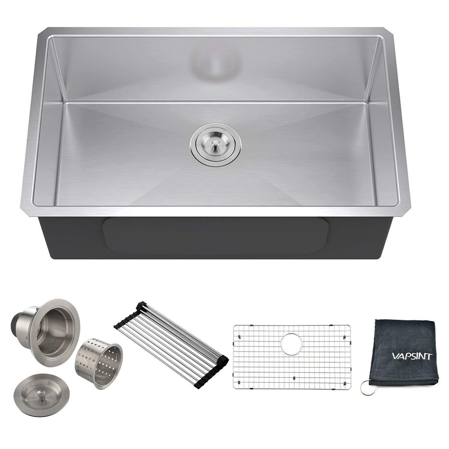 VAPSINT Commercial Real 18 Gauge 30 Inch Handmade Drop In Undermount Single Bowl Stainless Steel Kitchen Sinks, Complimentary Accessories