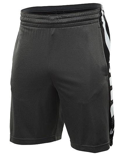 Nike Men's 9'' Elite Stripe Basketball Shorts ( Charcoal Heather/Black, ...