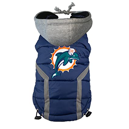 hot sale online 566fd fd4a6 NFL Miami Dolphins Dog Puffer Vest