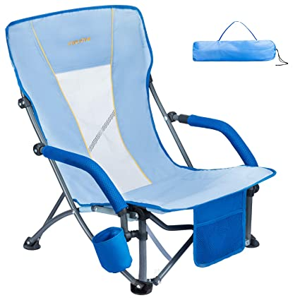 Marvelous Wejoy Low Folding Beach Chair With Cup Holder Pocket Slubbed Fabric Mesh Back Compact Low Sitting Profile Seat Short Collapsible Concert Lawn Chairs Pdpeps Interior Chair Design Pdpepsorg