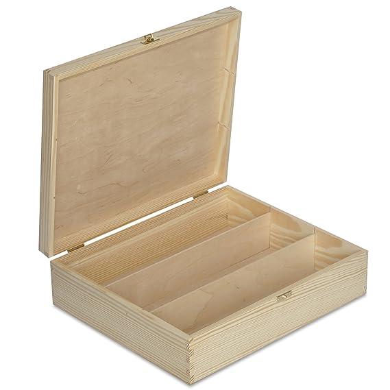 Creative Deco Caja Madera Vino para Decorar | 3 Botella | 35,1 x 30 x 10 cm | Divisores Extraíbles | Perfecta para Regalo Decoupage Almacenamiento ...