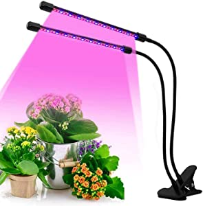 LED Grow Lights for Indoor Plants, KYOEON 40W Dual Head Timing Garden Lights Plant Growing Lights for Seed Starting with Red Blue Spectrum, Adjustable Gooseneck, 3 9 12H Timer, 3 Switch Modes