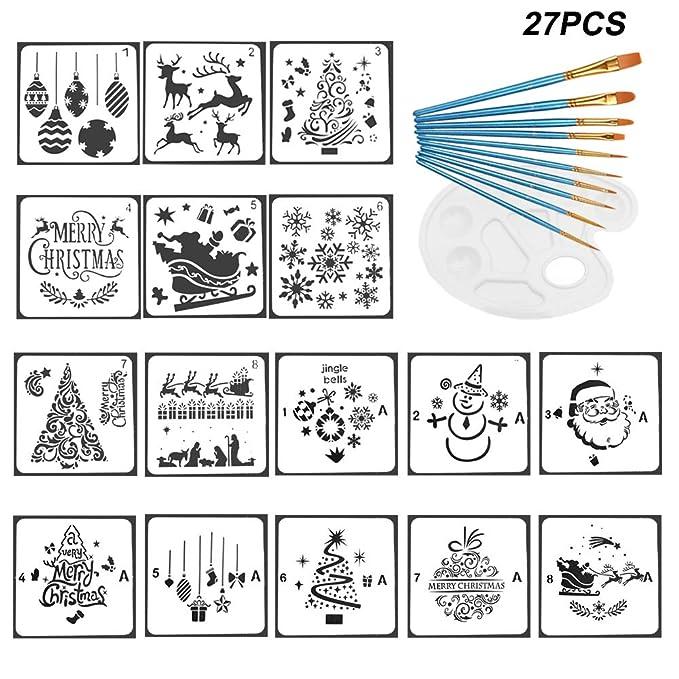 Amajoy 27PCS Christmas Painting Stencil Tools Set Pinceles de ...
