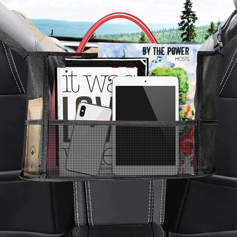 MUSJOS Car Net Pocket Handbag Holder, Driver Storage Netting Ventilate Pouch, Seat Back Net Bag Purse Phone Documents Pocket, Handbag Holder for Car Between Two Seats, Barrier of Backseat Pet(Black)