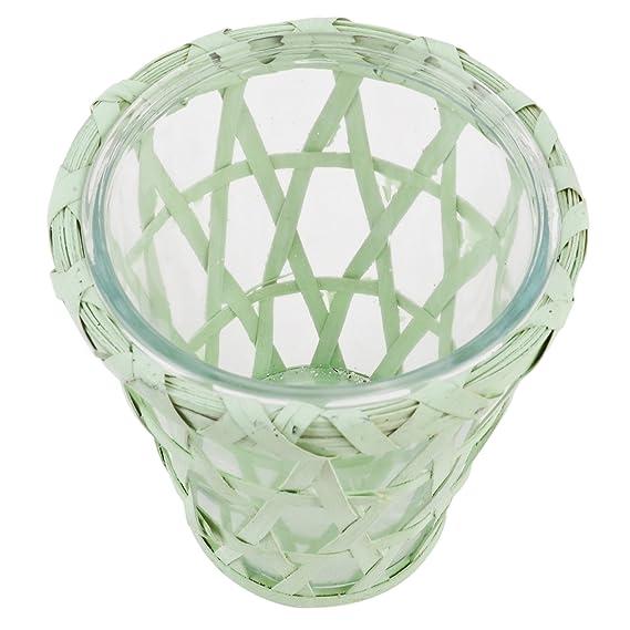 Windlicht Country Flair Design konisch Rattan Glas 14x10x15cm weiss Vase