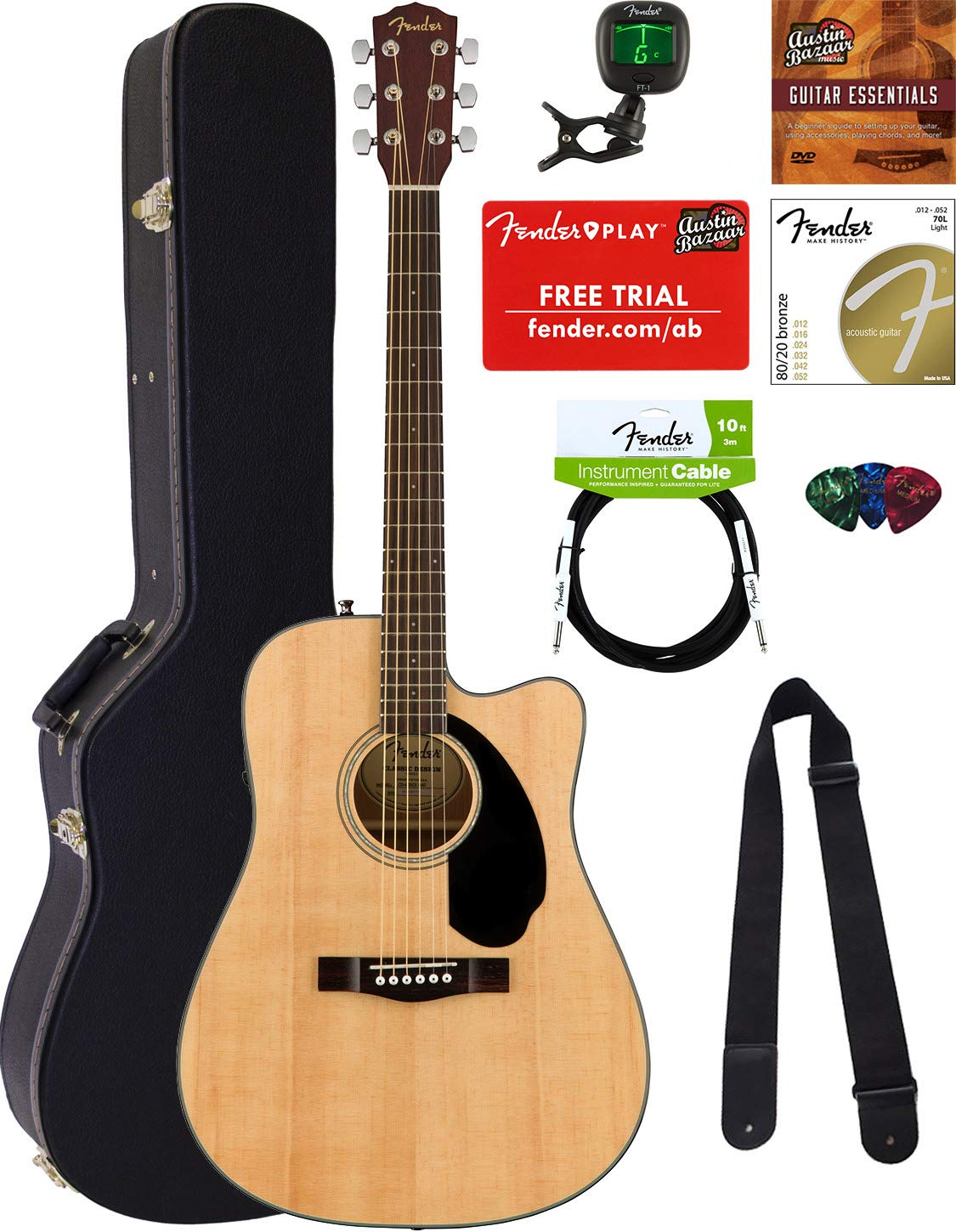8884921b6c0 Fender CD-60SCE Dreadnought Acoustic-Electric Guitar - Natural Bundle with  Hard Case, Cable, Tuner, Strap, Strings, Picks, Austin Bazaar Instructional  DVD, ...