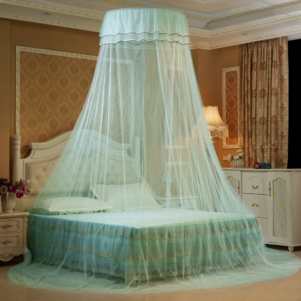 ODIUHEOHF Mosquito bed net | Large screen netting bed canopy circular curtain | Keeps away insects & flies | Home & travel-Aqua 120x200cm(47x79inch)