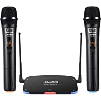 Moukey Dual UHF Wireless Microphone System,MwmU-2 Professional Handheld Karaoke Mic Set,Ideal for Karaoke,Church, Party