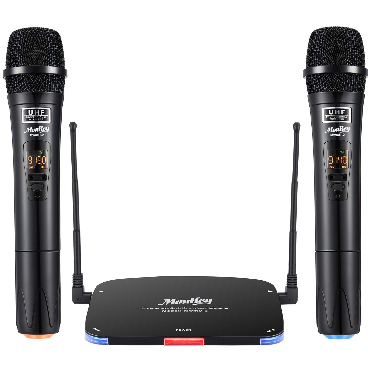 Moukey UHF Wireless Microphone System, Dual Channel Karaoke Professional Handheld Dynamic Rechargeable Cordless Mic Set, 262ft Range for Home Singing Machine DJ Church PA Speaker by Moukey