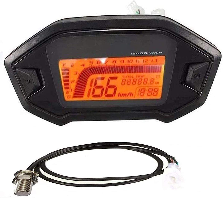 SAMDO 6 Gear Universal Motorcycle Speedometer Tachometer Digital Odometer 199 KMH
