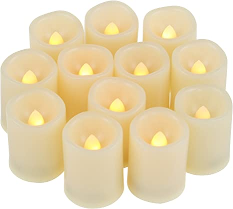 12//24PCS LED Tea Lights with Timer Flickering Flameless Candles Battery Operated