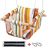 Toddler Baby Hanging Swing Seat Secure Canvas Hammock Chair with Soft Backrest Cushion - Installation Accessories Included (White/Yellow/Green Stripes)