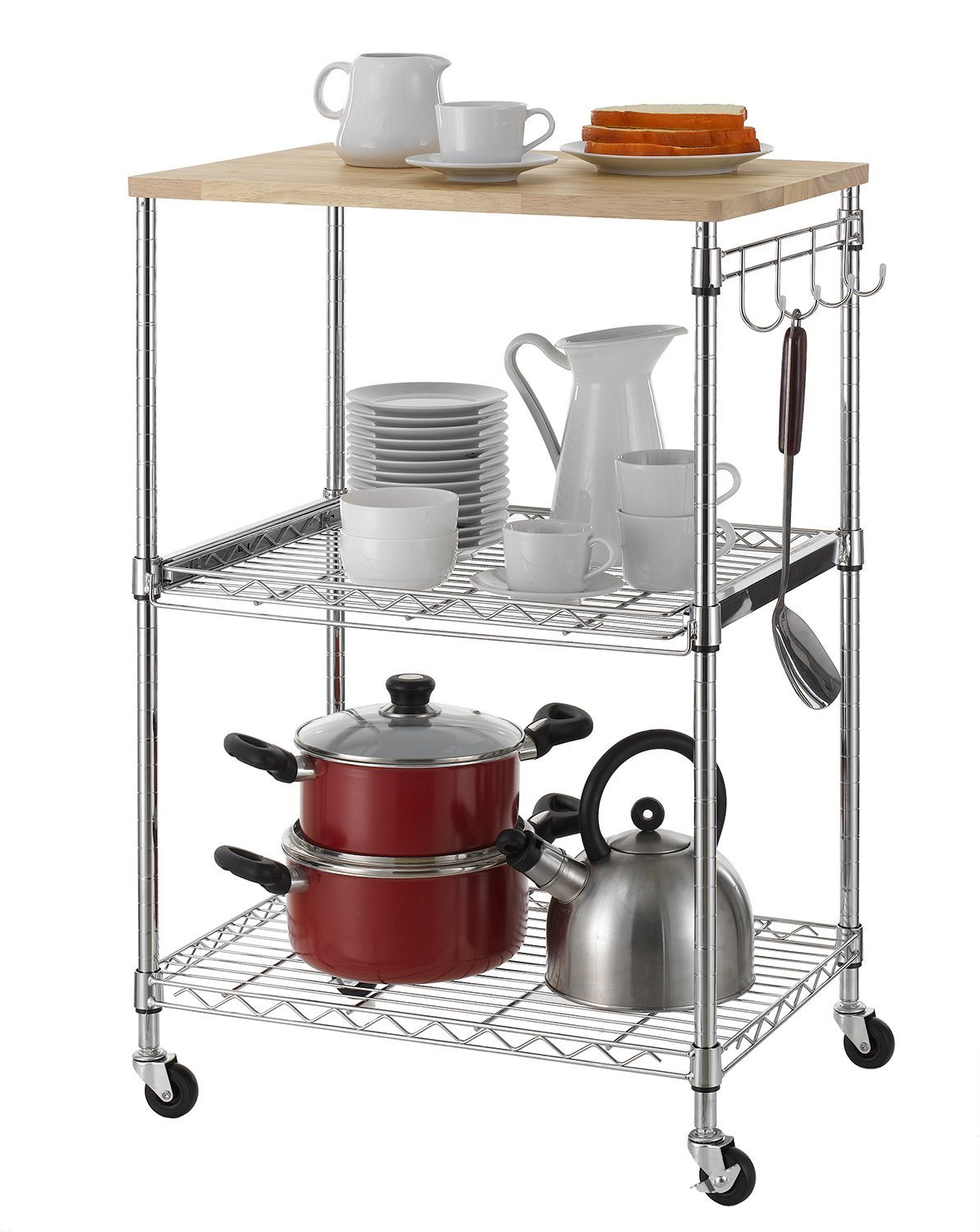 Finnhomy 3-Tier Wire Rolling Kitchen Cart, Food Service Cart ...