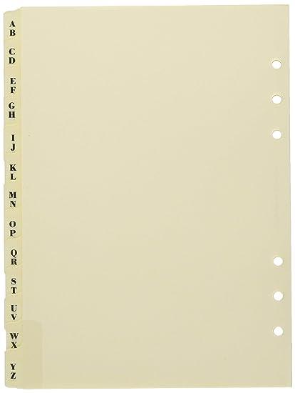 Filofax A5 341664 - Recambio para agenda de anillas, agenda telefónica (A5), pestañas A - Z, color crema