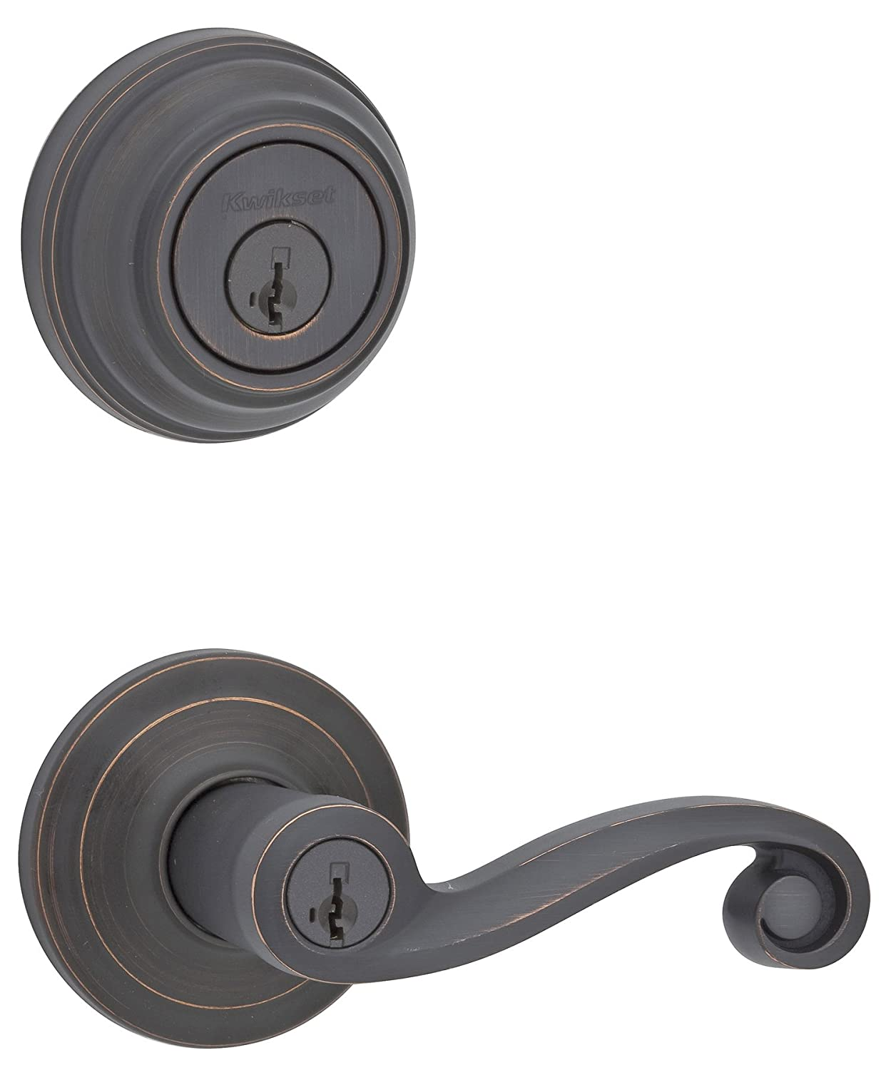 Kwikset 991 Lido Entry Lever And Single Cylinder Deadbolt Combo Pack  Featuring SmartKey In Polished Brass   Door Handles   Amazon.com