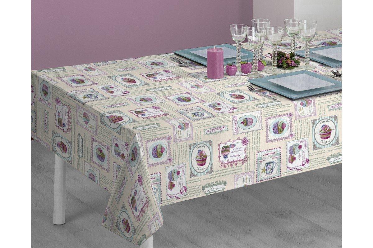 disponible en varias medidas Mantel de tela antimanchas Cupcakes Sabanalia - 140 x 140