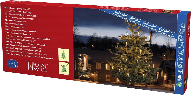 Konstsmide 1015-020 LED Baumkette mit wei/ße Topbirnen 45 warm wei/ße Dioden gr/ünes Kabel // VDE gepr/üft IP44 24V Au/ßentrafo One String f/ür Au/ßen