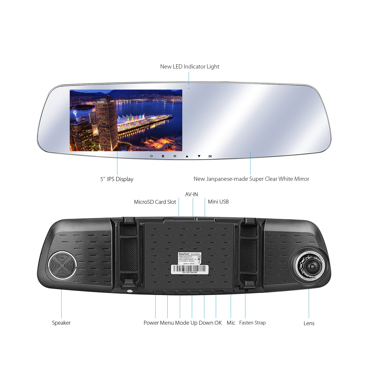 Reverse Assist 3rd Gen 5 IPS Screen M511 150 Degree Wide Angle Front Camera with Night Vision 5 IPS Screen SmarTure 1296P Rear View Mirror Dash Cam with Backup Camera Parking Protection,Two Channels Recording