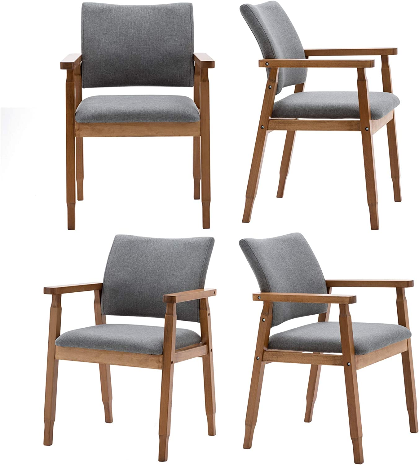 Set of 8 Mid Century Modern Walnut Dining Chairs Wood Arm Grey Fabric  Kitchen Cafe Living Room Decor Furniture