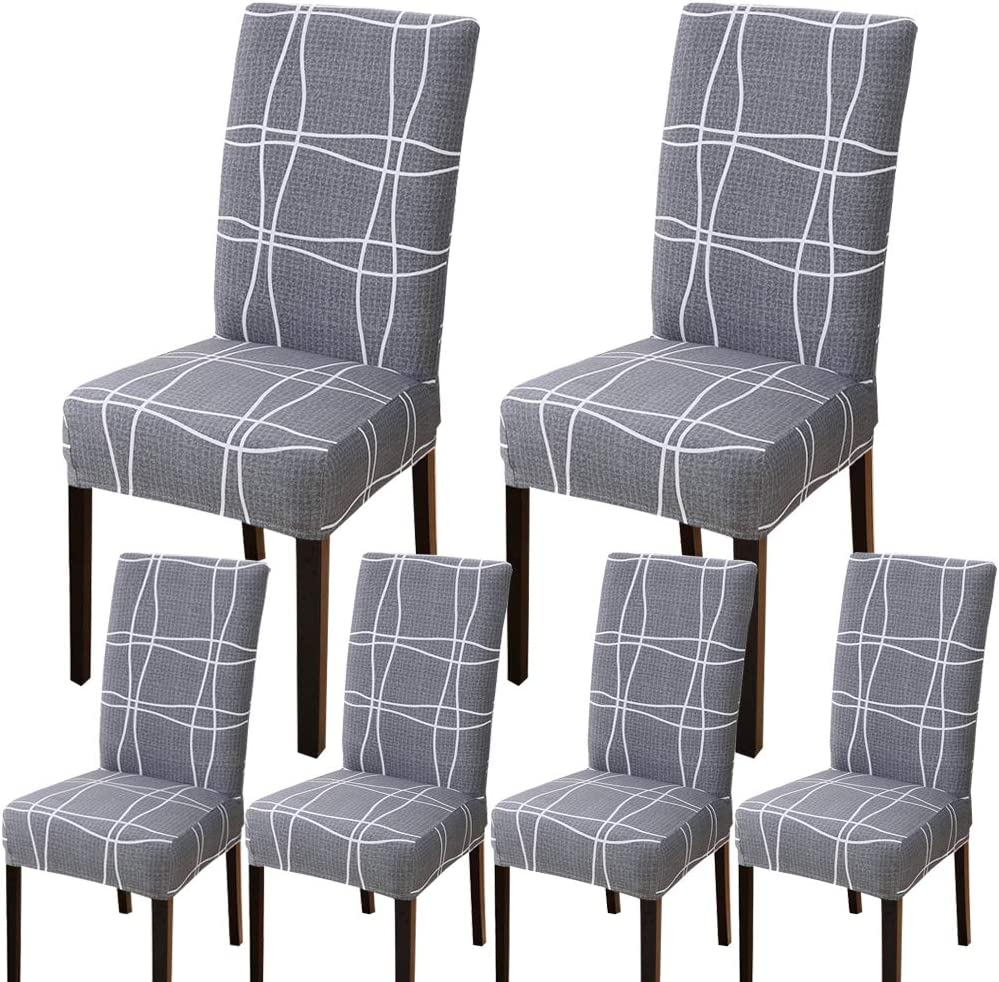 Bckakqa Stretch Chair Covers For Dining Room Grey Checked Dining Chair Slipcovers Set Of 6 Soft Spandex Removable Washable Dining Chair Seat Covers For Dining Room Wedding Banquet Party Decoration Amazon Co Uk Kitchen