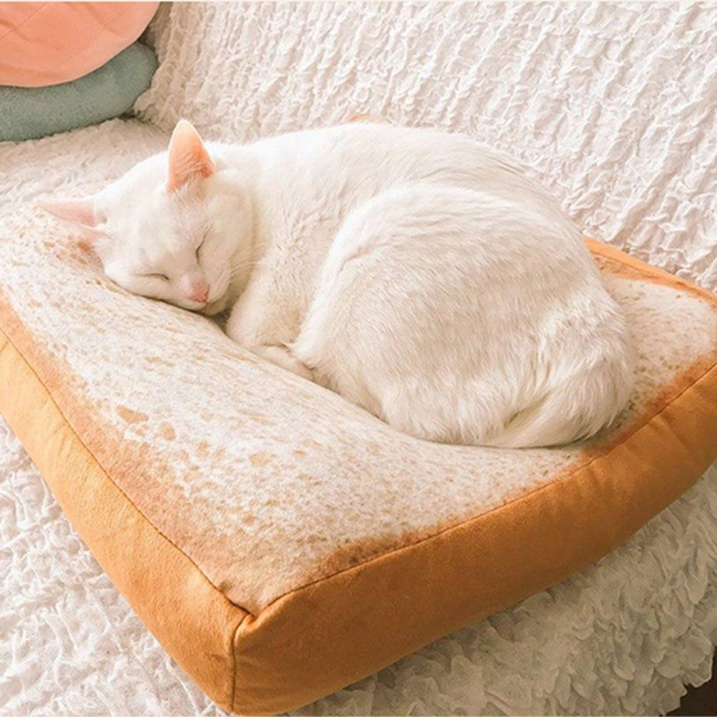 Be Good Pet Bed Mat Toast Bread Slice Style Cushion Soft and Cozy Dog Crate Mat Cat Warming Bed Pupppy Mattress for Cute Animal Small and Medium Catty and Doggy Sleeping Playing Resting Bed L