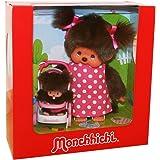 Kiki - Monchhichi - Peluche Mama avec Bébé et poussette Poupée, 20cm