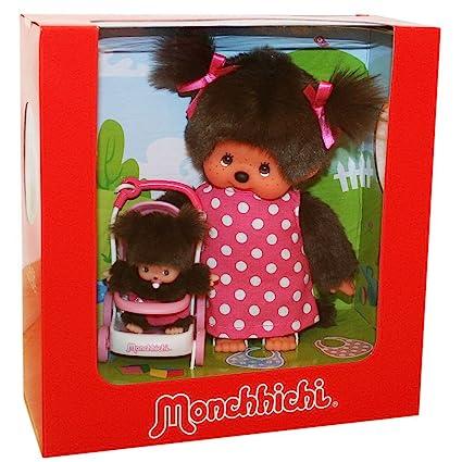 Monchhichi - Kinderwagenset - Mami con Niño y carrito de bebé 20cm Muñeca