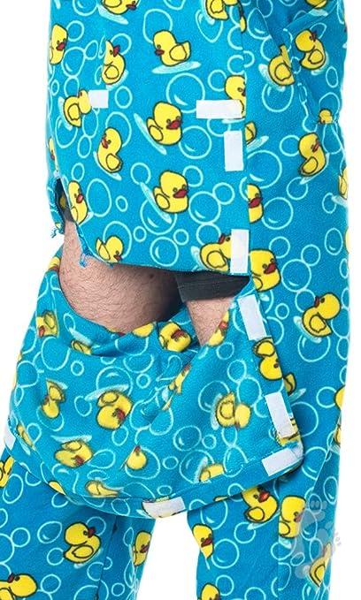 91c20f964a36 Amazon.com  Footed Pajamas - Splish Splash Blue Adult Hoodie Drop ...