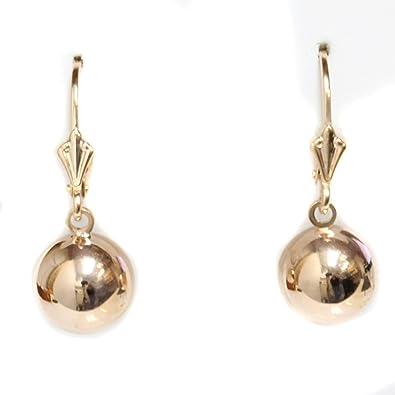 Round Dangle Ball Earrings Rose Gold Ball Dangle Earrings