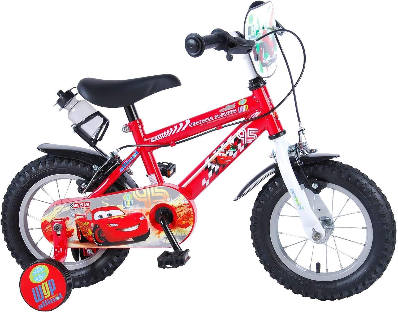 Disney Bicicleta Infantil Chico Cars 12 Pulgadas con Ruedas Extraibles Rojo