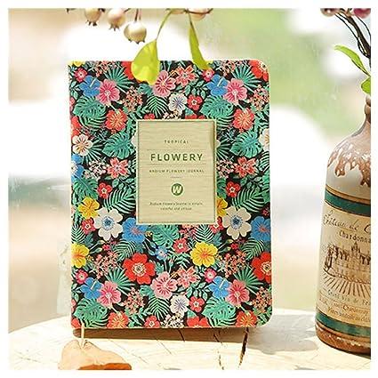 Bonita Floral flor cuadro de piel sintética libro agenda ...