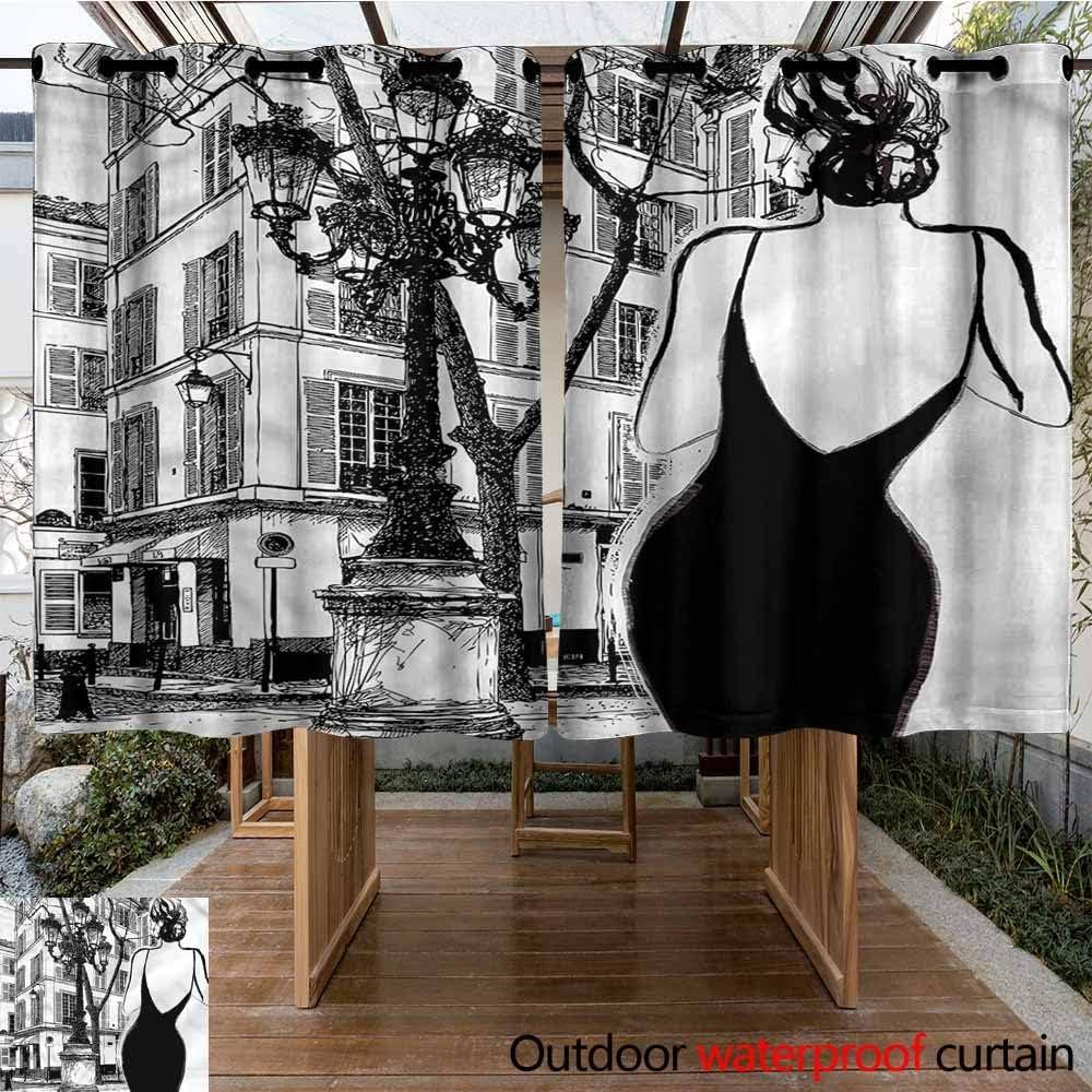 Sunnyhome Cortina de Puerta corredera Paris Vintage Acuarela Paris Cortinas para salón: Amazon.es: Jardín