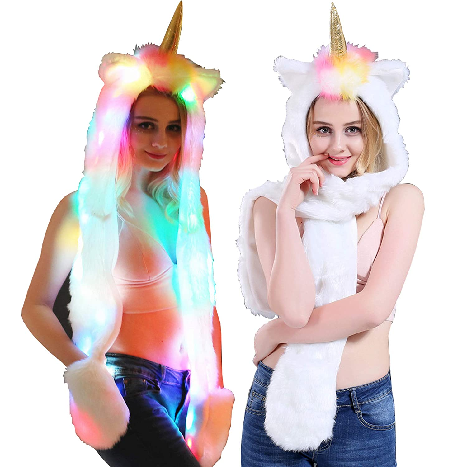 Faux Fur Unicorn Hat Scarf Gloves Light Up Mittens 3-in-3 Function Furry Hoodie Flashing Control LED light FC-072718-009