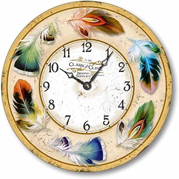 Fairy Freckles Studios Item C2017 Vintage Style 10.5 Inch Bird Feathers Clock
