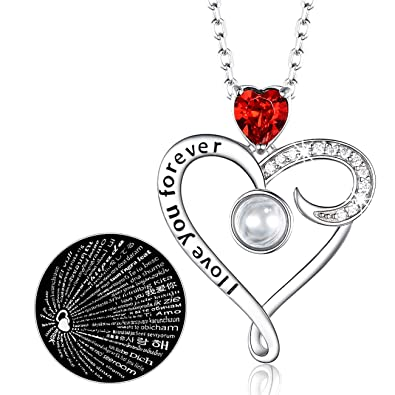 Gifts For Mom Sterling Silver Jewelry I Love You Forever Red Heart Necklace Anniversary Birthday Women Her Wife Girlfriend Amazonca