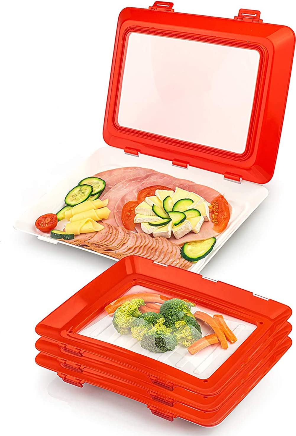 Fox Claw Food Preservation Tray, Stackable and Reusable Food Storage Container with Elastic Lid, Kitchen Refrigerator Storage and Travel & To-Go Food Container Tray [Set of 4] NEW VERSION 2021