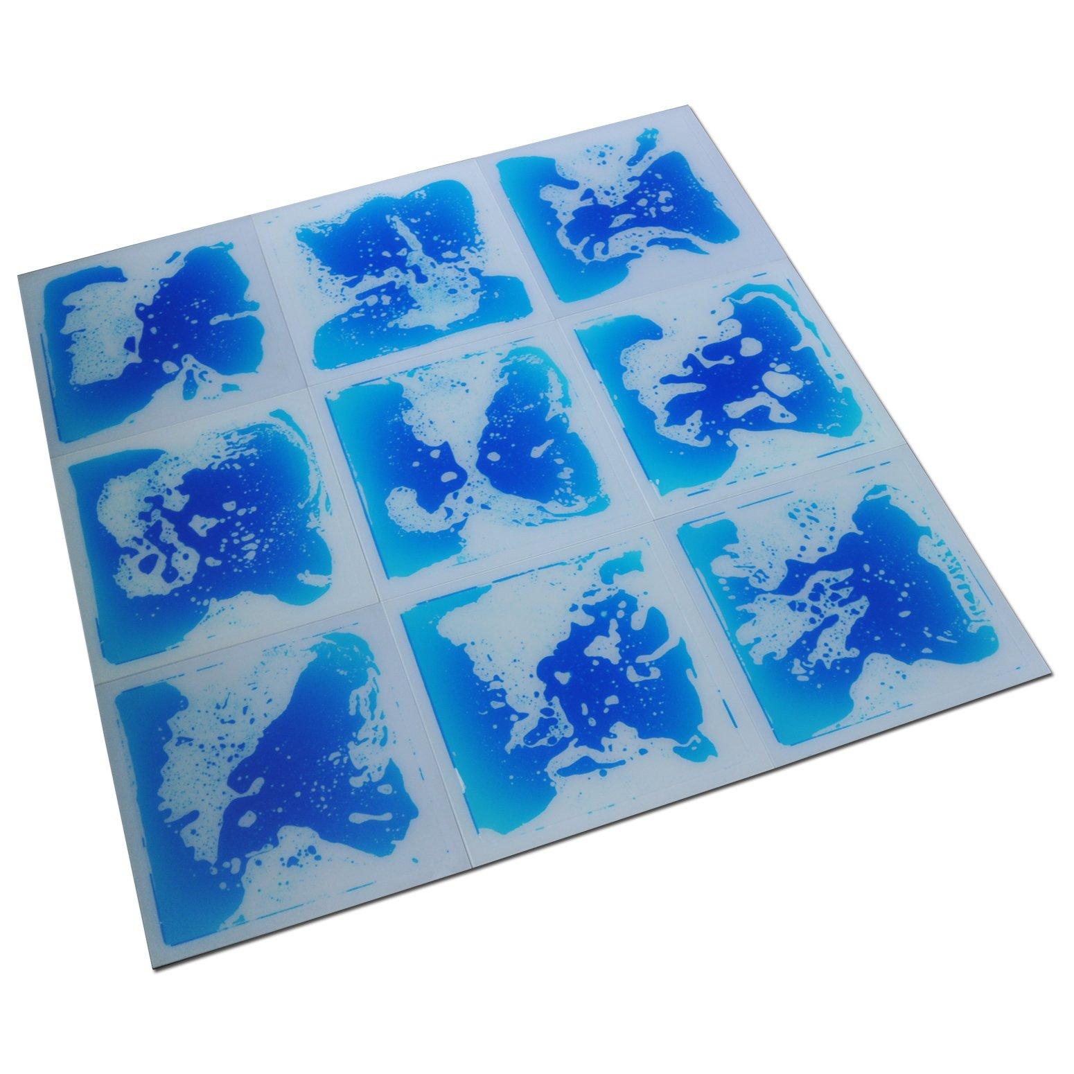 Art3d Fancy Floor Tile For Kids Room Liquid Encased Floor Tile, 12'' X 12'' Blue (9 Tiles)