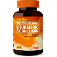 BioEmblem Turmeric Curcumin Supplement with BioPerine & Organic Turmeric Powder