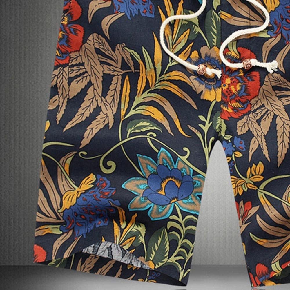STORTO Mens Linen Shorts Floral Printed Summer Beach Sports Workout Casual Fashion Shorts